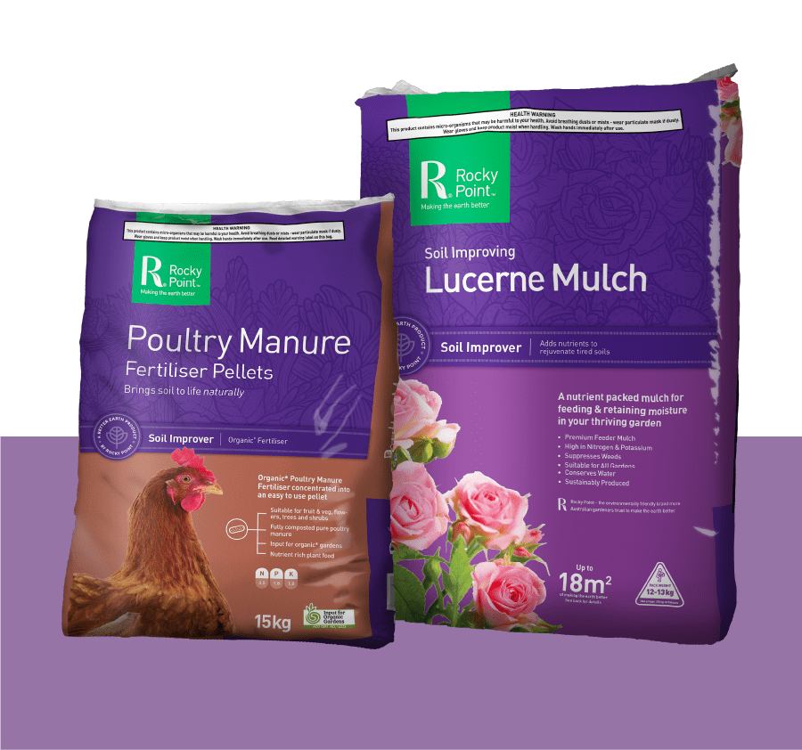 poultry manure and lucerne mulch