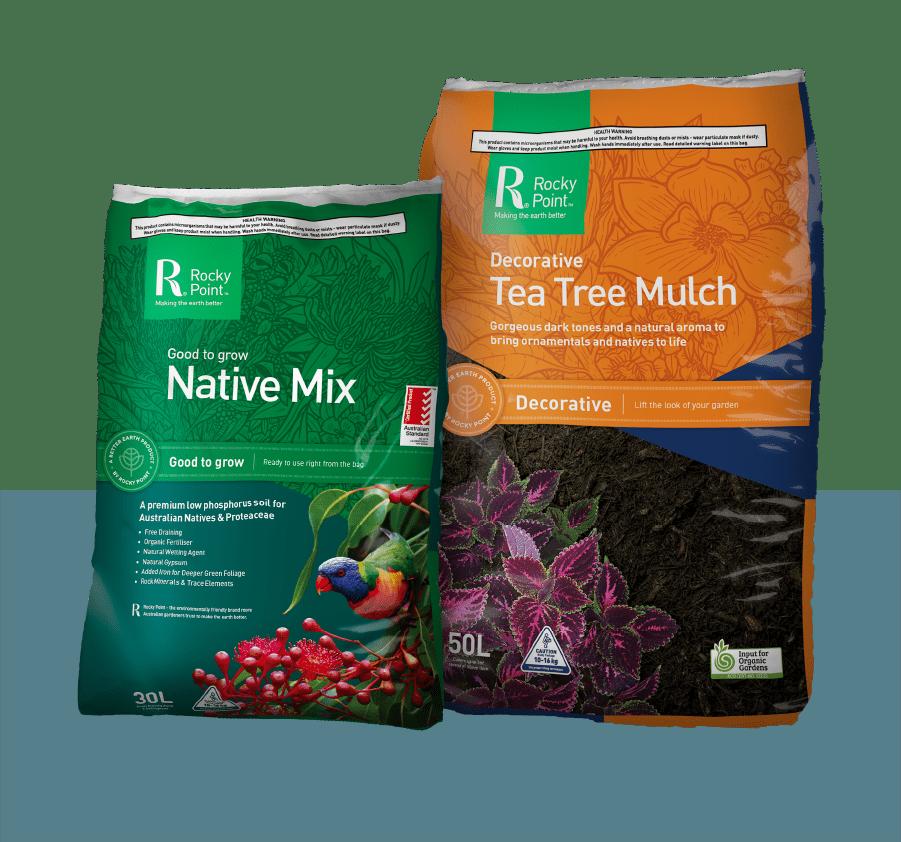 native mix and tea tree mulch
